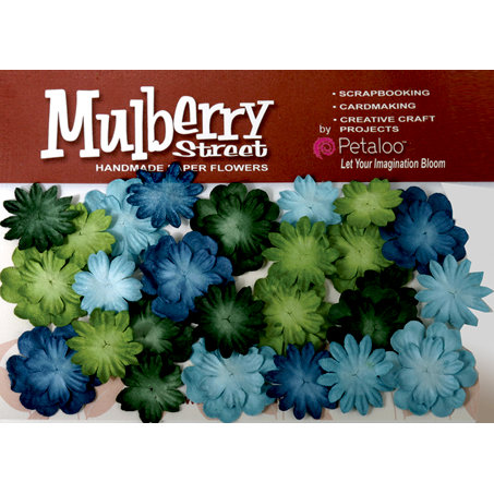 Petaloo - Mulberry Street Collection - Handmade Paper Flowers - Mini Delphiniums - Light Blue Dark Blue Green and Chartreuse
