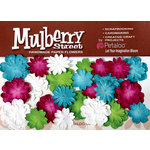 Petaloo - Mulberry Street Collection - Handmade Paper Flowers - Mini Delphiniums - Teal Fuschia Chartreuse and White, CLEARANCE