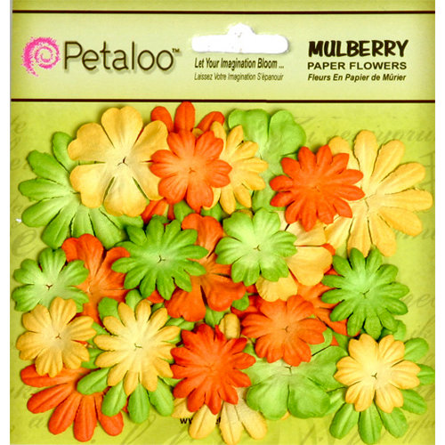 Petaloo - Flora Doodles Collection - Mulberry Flowers - Mini - Delphiniums - Citrus Yellow Orange and Chartreuse