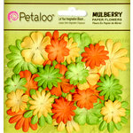 Petaloo - Flora Doodles Collection - Mulberry Flowers - Mini - Delphiniums - Citrus Yellow Orange and Chartreuse
