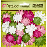 Petaloo - Flora Doodles Collection - Mulberry Flowers - Mini - Delphiniums - Pink White Chartreuse and Fuschia