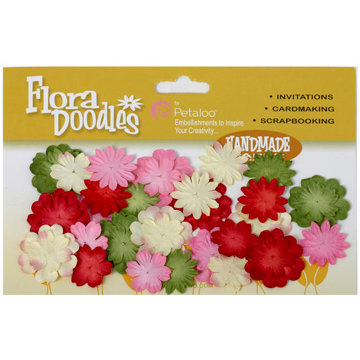 Petaloo - Flora Doodles Collection - Handmade Paper Flowers - Mini Delphiniums - Jolly Christmas, CLEARANCE