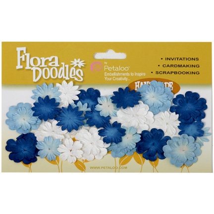 Petaloo - Flora Doodles Collection - Handmade Paper Flowers - Mini Delphiniums - Winter, CLEARANCE