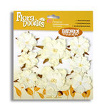 Petaloo - Flora Doodles Collection - Flowers - Mulberry Paper Wild Roses - Paper Wild Roses - White