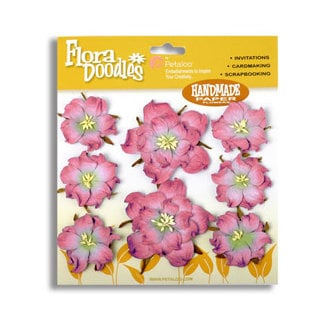 Petaloo - Flora Doodles Collection - Flowers - Mulberry Paper Wild Roses - Pink, CLEARANCE