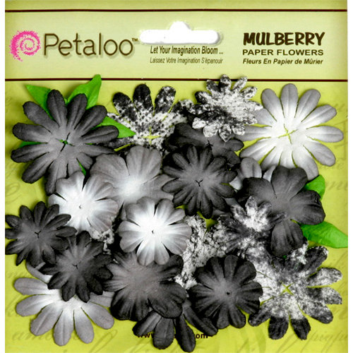 Petaloo - Flora Doodles Collection - Mulberry Flowers - Mini Daisies with Tyedye - Black and Grey