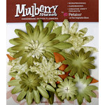 Petaloo - Mulberry Street Collection - Handmade Paper Flowers - Large Daisies with Tyedye - Green, CLEARANCE