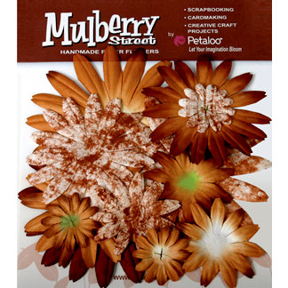 Petaloo - Mulberry Street Collection - Handmade Paper Flowers - Large Daisies with Tyedye - Mocha, CLEARANCE