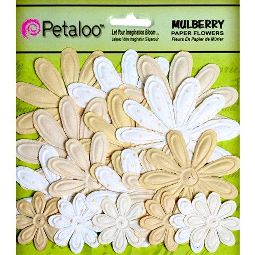 Petaloo - Flora Doodles Collection - Embossed Mulberry Flowers - Daisies - Vanilla Cream
