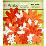 Petaloo - Flora Doodles Collection - Embossed Mulberry Flowers - Daisies - Orange