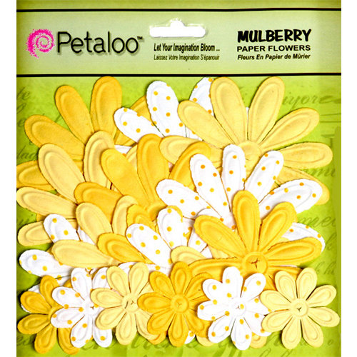 Petaloo - Flora Doodles Collection - Embossed Mulberry Flowers - Daisies - Yellow