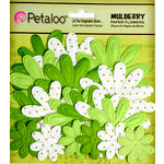 Petaloo - Flora Doodles Collection - Embossed Mulberry Flowers - Daisies - Chartreuse