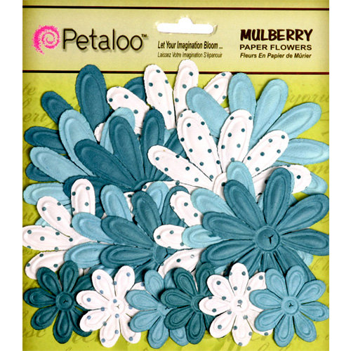 Petaloo - Flora Doodles Collection - Embossed Mulberry Flowers - Daisies - Teal