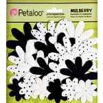 Petaloo - Flora Doodles Collection - Embossed Mulberry Flowers - Daisies - Black