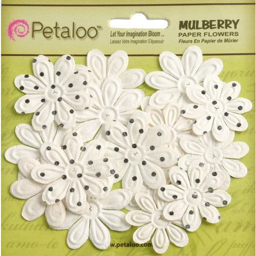 Petaloo - Flora Doodles Collection - Embossed Mulberry Flowers - Daisies - Mini - White