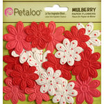 Petaloo - Flora Doodles Collection - Embossed Mulberry Flowers - Daisies - Mini - Red