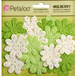 Petaloo - Flora Doodles Collection - Embossed Mulberry Flowers - Daisies - Mini - Chartreuse