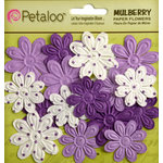 Petaloo - Flora Doodles Collection - Embossed Mulberry Flowers - Daisies - Mini - Purple Majesty