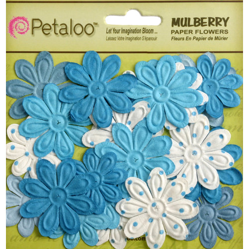 Petaloo - Flora Doodles Collection - Embossed Mulberry Flowers - Daisies - Mini - Marine Blue