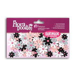 Petaloo - Flora Doodles Collection - Flowers - Mini Florettes Paper Flowers - White, Black, Grey and Pink, CLEARANCE