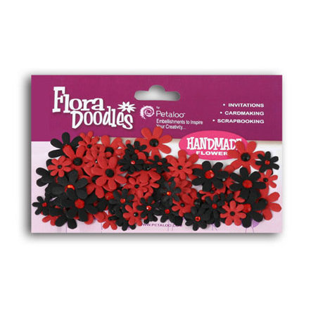 Petaloo - Flora Doodles Collection - Flowers - Mini Florettes Paper Flowers - Red and Black, CLEARANCE