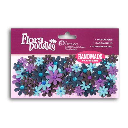Petaloo - Flora Doodles Collection - Flowers - Mini Florettes Paper Flowers - Light Blue, Dark Blue, Lavender and Purple, CLEARANCE