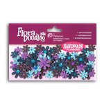 Petaloo - Flora Doodles Collection - Flowers - Mini Florettes Paper Flowers - Light Blue, Dark Blue, Lavender and Purple, CLEARANCE