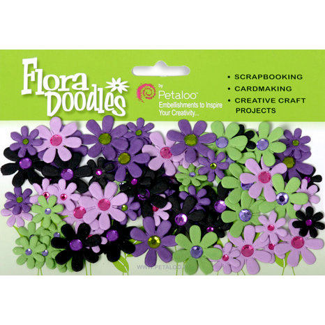 Petaloo - Flora Doodles Collection - Handmade Paper Flowers - Jeweled Florettes - Lavender Purple Green and Black, CLEARANCE