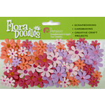Petaloo - Flora Doodles Collection - Handmade Paper Flowers - Jeweled Florettes - Peach Fuschia Lavender and Pink, CLEARANCE