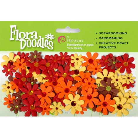 Petaloo - Flora Doodles Collection - Handmade Paper Flowers - Jeweled Florettes - Yellow Brown Orange and Red, CLEARANCE