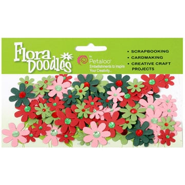 Petaloo - Flora Doodles Collection - Handmade Paper Flowers - Jeweled Florettes - Jolly Christmas, CLEARANCE