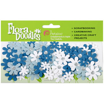 Petaloo - Flora Doodles Collection - Handmade Paper Flowers - Jeweled Florettes - Winter, CLEARANCE