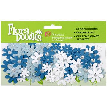 Petaloo - Flora Doodles Collection - Handmade Paper Flowers - Jeweled Florettes - Winter, CLEARANCE