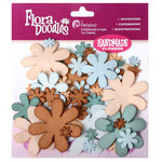 Petaloo - Flora Doodles Collection - Flowers - Fancy Foam Flowers - Aqua, Teal, Tan and Brown, CLEARANCE