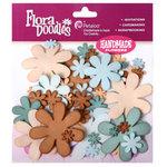 Petaloo - Flora Doodles Collection - Flowers - Fancy Foam Flowers - Aqua, Teal, Tan and Brown, CLEARANCE