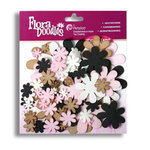 Petaloo - Flora Doodles Collection - Flowers - Fancy Foam Flowers - White, Black, Grey and Pink, CLEARANCE