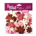 Petaloo - Flora Doodles Collection - Flowers - Fancy Foam Flowers - Cream, Brown, Pink and Red