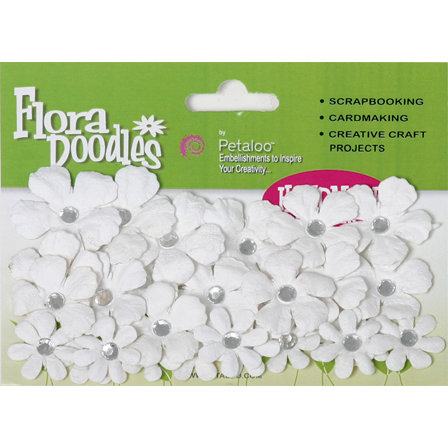Petaloo - Flora Doodles Collection - Handmade Paper Flowers - Tye-Dyed Gypsies - All White, CLEARANCE
