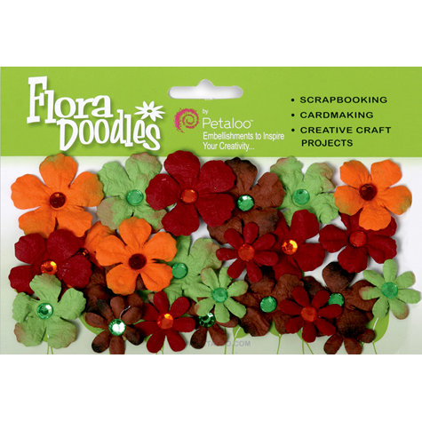Petaloo - Flora Doodles Collection - Handmade Paper Flowers - Tye-Dyed Gypsies - Green Brown Orange and Burgandy, CLEARANCE