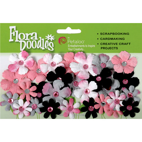 Petaloo - Flora Doodles Collection - Handmade Paper Flowers - Tye-Dyed Gypsies - White Black Pink and Grey, CLEARANCE