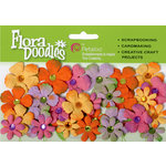 Petaloo - Flora Doodles Collection - Handmade Paper Flowers - Tye-Dyed Gypsies - Yellow Orange Fuschia and Levender, CLEARANCE