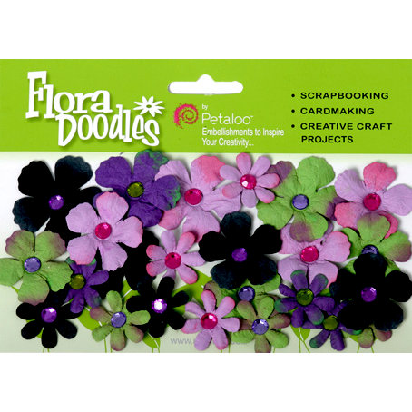 Petaloo - Flora Doodles Collection - Handmade Paper Flowers - Tye-Dyed Gypsies - Lavender Purple Green and Black, CLEARANCE