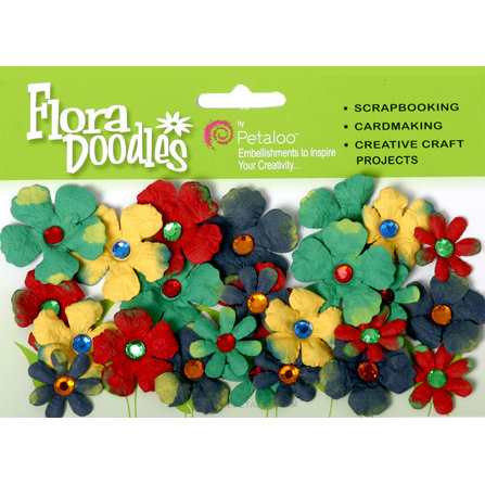Petaloo - Flora Doodles Collection - Handmade Paper Flowers - Tye-Dyed Gypsies - Red Yellow Dark Blue and Green, CLEARANCE