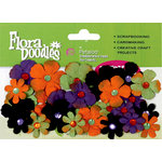 Petaloo - Flora Doodles Collection - Handmade Paper Flowers - Tye-Dyed Gypsies - Orange Purple Black and Green, CLEARANCE