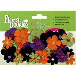 Petaloo - Flora Doodles Collection - Handmade Paper Flowers - Tye-Dyed Gypsies - Orange Purple Black and Green, CLEARANCE