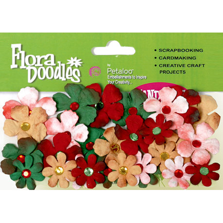 Petaloo - Flora Doodles Collection - Handmade Paper Flowers - Tye-Dyed Gypsies - Red Green Gold and White, CLEARANCE