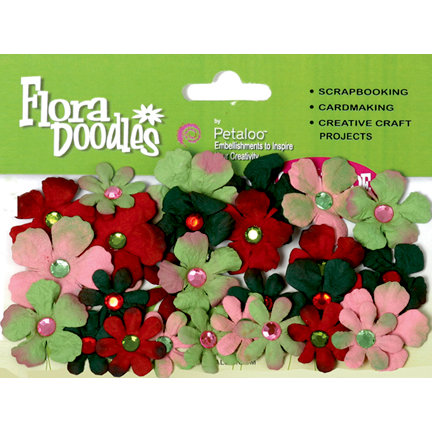 Petaloo - Flora Doodles Collection - Handmade Paper Flowers - Tye-Dyed Gypsies - Red Pink and Green, CLEARANCE