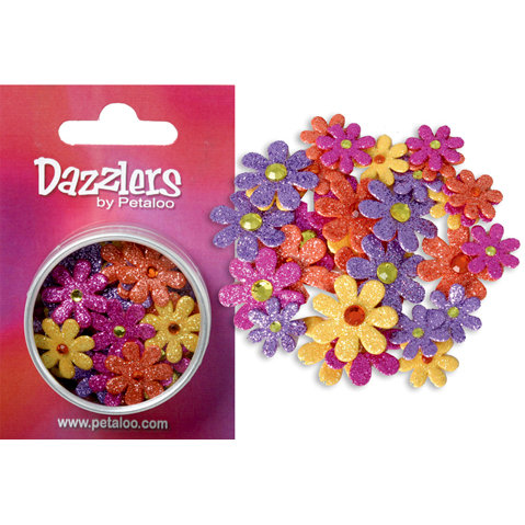 Petaloo - Dazzlers Collection - Small Glittered Florettes - Yellow Orange Fuschia and Lavender, CLEARANCE