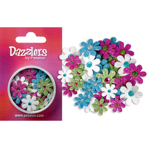 Petaloo - Dazzlers Collection - Small Glittered Florettes - Fuschia Teal Chartreuse and White, CLEARANCE