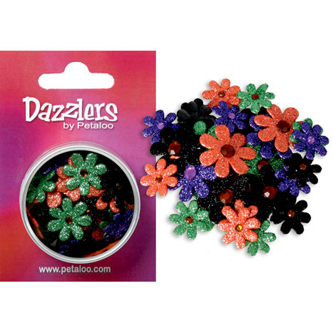 Petaloo - Dazzlers Collection - Small Glittered Florettes - Orange Purple Black and Green, CLEARANCE